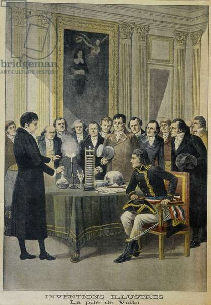 """Alessandro (Alexandre) Volta presents his electric battery in Napoleon 1er - in """""""" Le Petite Journal"""""""" from 22/12/1901"""