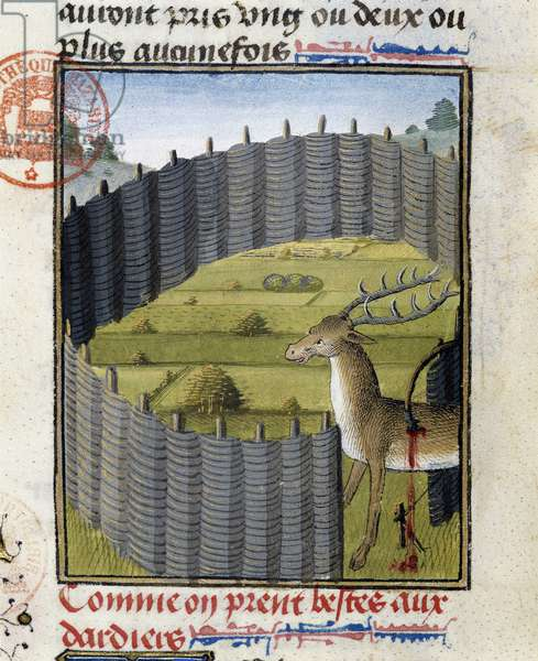 """Deer trap - in """""""" Hunting Book of Gaston Phoebus, Count of Foix, Lord of Bearn"""""""", 14th century"""