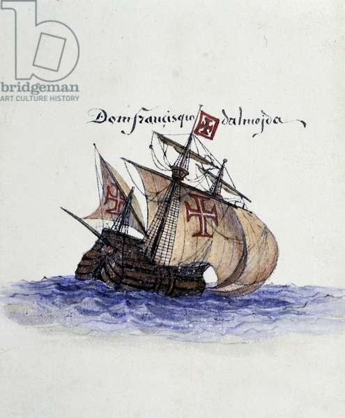 "Portuguese Caravel, 15th century - in ""The life of Prince Henri of Portugal surnamed the Navigator"""" by Richard Henry Mayor, ed. Asher, London, 1868"