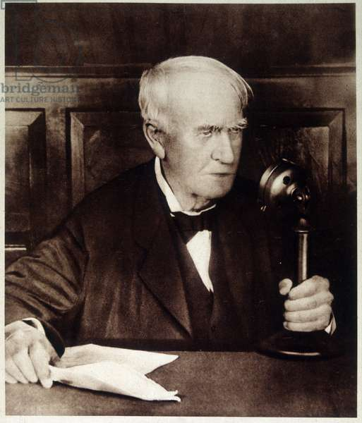 Thomas Alva Edison speaking to the microphone, 1931