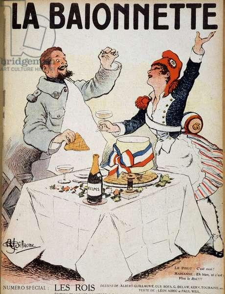 """Les rois (Marianne et un hairy trinquant autour d'une galette) - in """""""" La Baionnette"""""""", drawing by Albert Guillaume (1873-1942) n.d. (20th century)"""