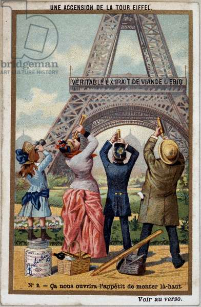 An ascent of the Eiffel Tower: you can see the height of the tower at the long view - chromo. Liebig, deb. 20th century