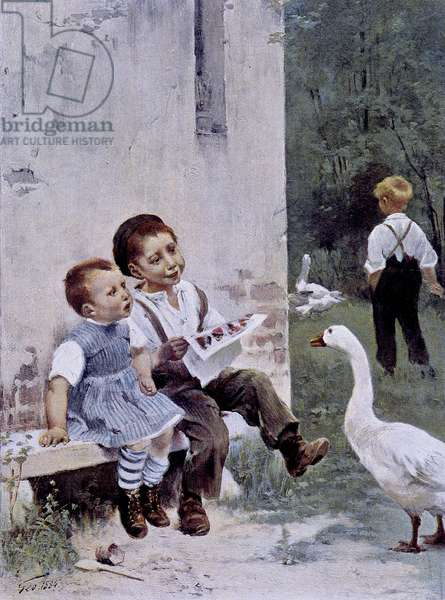 """Education: children reading and goose watching them - ill. by Geoffroy, in """""""" Figaro Illustré"""""""""""", May 1901"""
