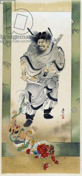Shoki and the Demons. Self-painting by Shibata Zeshin, 19th century.
