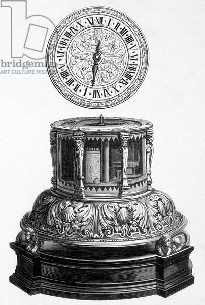 Cabinet clock from the Valois period - engraving, 16th century.