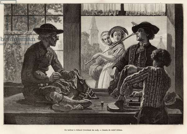 """A tailor and his apprentice, working on the edge of the window to enjoy the light and the spectacle of the passers-by of the street, in Rilland (South Beveland), engraving after the drawing by Adolf Dillens, illustrating a journey to Zelande (Neerlande), in 1873, by Charles de Coster, published in """""""" Le tour du monde"""" 1874, under the direction of Edouard Charton, Hachette edition, Paris. Selva Collection."""