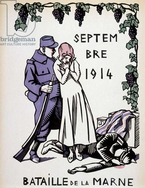 "September 1914: Battle of the Marne - drawing by Herman Paul, in """" Calendar of War"""" ed. 1916"