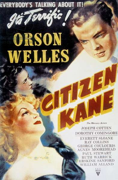 "Poster of the 1941 film ""Citizen Kane"", starring Orson Welles"