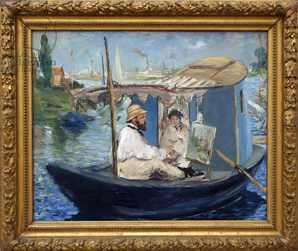 Claude Monet (1840-1926) painting in his workshop or Monet on his boat. Painting by Edouard Manet (1832-1883), Oil On Canvas, 1874. French Art, 19th century, Impressionism. Neue Pinakothek, Munich (Germany).