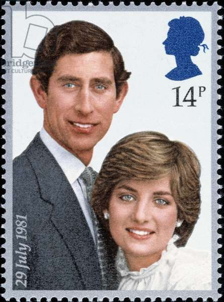 English stamp with Prince Charles and Lady Diana, 1981