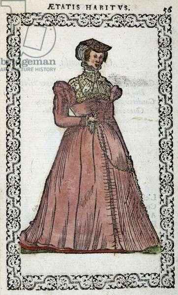 """Demoiselle francaise - in """""""" Habits et éffigies"""""""" by Jean Sulperius, 1572"""