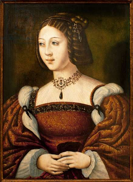 Portrait of Isabella of Portugal (1503-1539) - Painting of an anonymous master sd circa 1526, oil on wood 40 x 29 cm, middle of the 16th century (Portrait of Isabel de Portugal, by an unknown master, oil on panel, middle of the 16th century) - Museum of Ancient Arts of Lisbon (Portugal)
