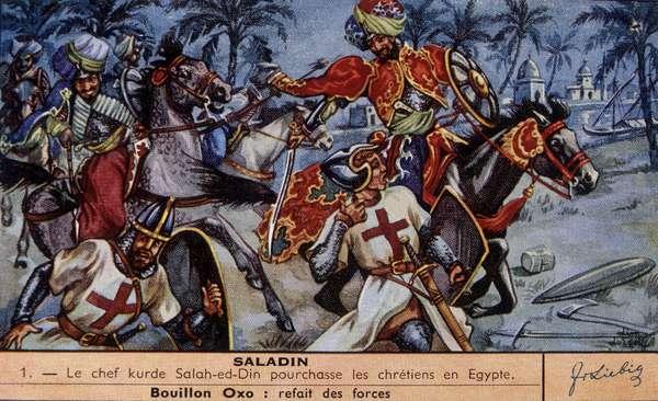 Kurdish leader Saladin (1138-1193) (Salah al Din Yusuf al-Ayyubi (al Ayyubi) chases Christians in Egypt. chromo. Liebig, deb. 20th century