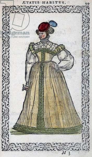"""Italian woman - in """""""" Habits et effigies"""""""" by Jean Sulperius, 1572"""