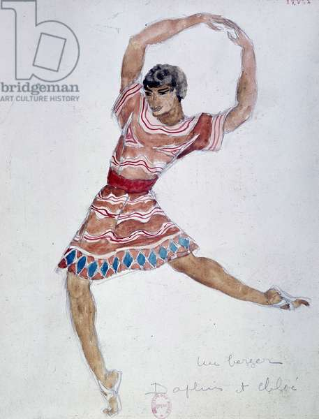 """Bakst costume for """"Daphnis and Chloé"""" by Michel Fokine, 1912."""