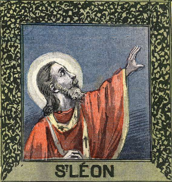"""Saint Leon The Great, Pope (45th) from 440 to 461 (died 461). Engraving in """""""" Great album of images en couleur pour l'explanation du catechisme approves by his eminance Cardinal Perraud"""""""", by Abbe Mouterde, beginning 20th century. Private Collection"""