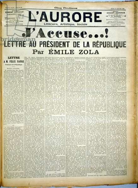 """J'Accuse...!, Open letter from Emile Zola to the President of the French Republic regarding Alfred Dreyfus printed in """"L'Aurore"""" newspaper, 13th January 1898 (newsprint)"""