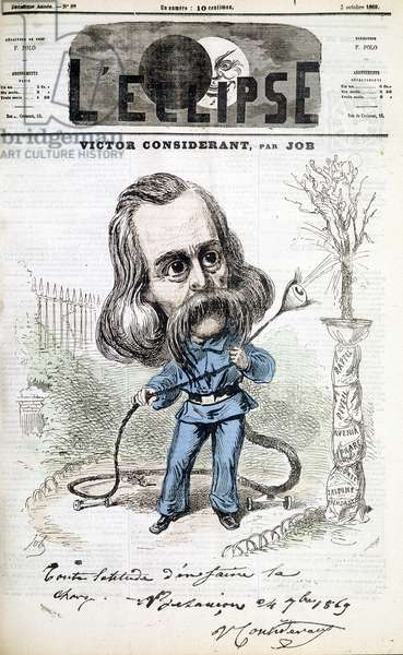 """Humorous drawing on Victor Recital (1808 - 1893) by Job. Cover of """""""" L'Eclipse"""""""" of 3/10/1869"""