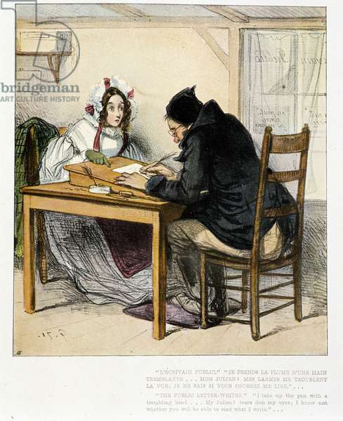 Public writer writing a letter for a young woman: engraving by Gavarni, 1871