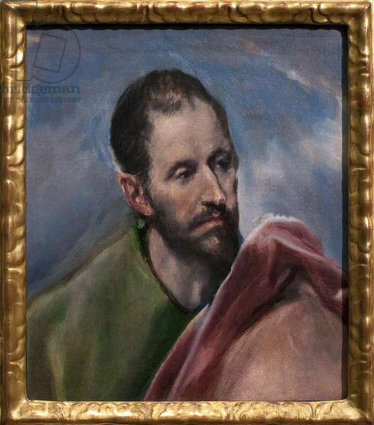 Study for a man's head. Saint James the Minor (James of Alphee, apostle of Jesus). Painting by Domenikos Theokopoulos dit El Greco (1541-1614), oil on canvas, circa 1580-1585. Spanish art, 16th century. Museum of Fine Arts Budapest (Hungary).