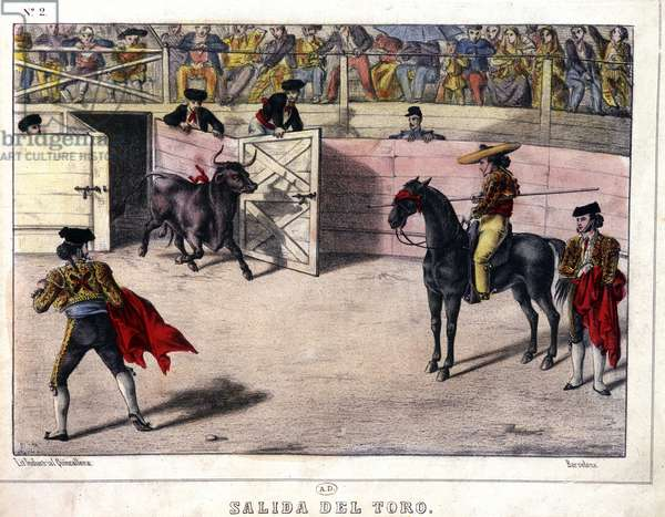 Release of Taurus, bullfighting in Spain, lithography sd. 19th century