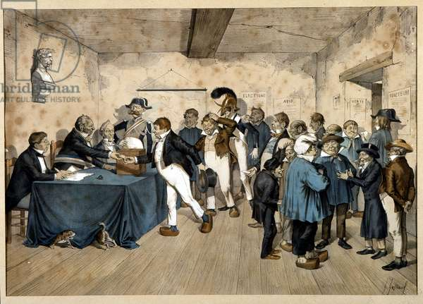 Universal suffrage: polling station in Brittany, late 19th century (colour litho)