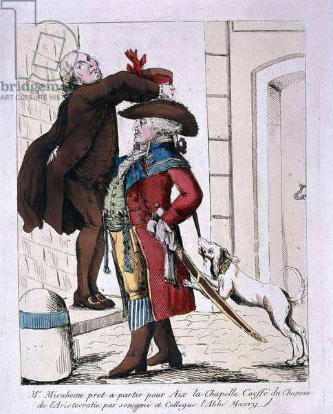 Honoré Gabriel Riqueti being dressed in an aristocratic hat by Abbe Maury, before leaving for Aix-la-Chapelle, 1789 (colour litho)