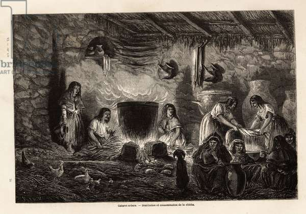 """An urban cabaret (chicharas or chicharias), a place of distillation and consumption of chicha, an Andean drink obtained from the fermentation of the middle and peanuts in which fruit is added, drawing by Paul Marcoy, to illustrate his journey from the Atlantic Ocean to the Pacific Ocean, through South America, from 1848 to 1860. Engraving in """""""" Le tour du monde"""""""", edited by Edouard Charton, 1862. Selva's collection."""