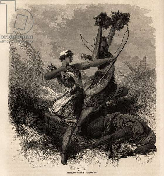 """Les amazons archeres battantes du Dahomey (now Benin), drawing by Jean Antoine Foulquier (1822-1896), to illustrate Dr Repin's journey to Dahomey in 1860. Engraving in """""""" Le tour du monde"""""""", edited by Edouard Charton, 1863. Selva's collection."""