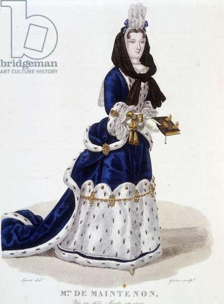 """Francoise d'Aubigne, Marquise (Madame) de Maintenon (1634-1719) - in """"Galerie francaise de femmes célèbres"""", drawing by Louis Maris Lante, Paris, 1827."""