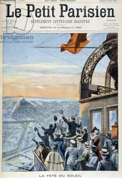 "La fête du soleil (a crowd at the top of the Eiffel Tower saluting the sun) - cover """" Le Peute Parisien"""""" from 09/07/1905."
