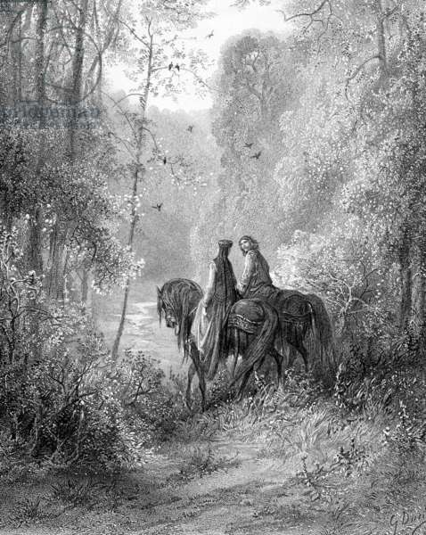 'They wondered in the woods which seemed a paradise of flowers' (litho)