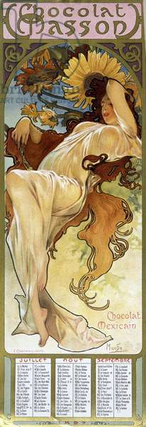 """Woman in Autumn mood - by Mucha, calendar """""""" Chocolat Mexicain Chocolat Masson"""", July, August, September 1897."""