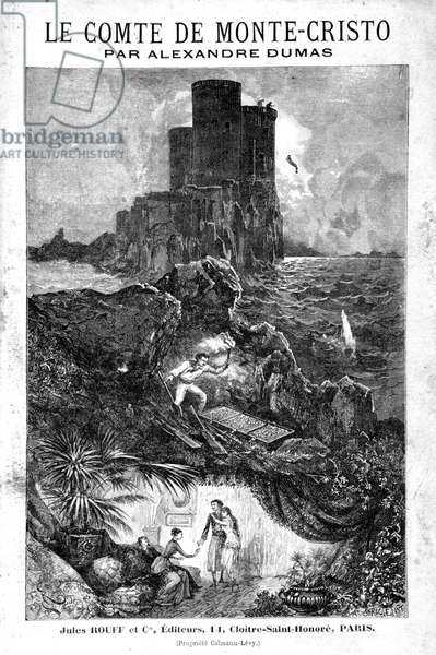"""Le chateau d'If, la disouverte du tresor et le retour à Paris - Engraving by Riou, in """"Le Comte de Monte-Cristo"""""""" by Alexandre Dumas, Rouff & Cie, 19th century"""
