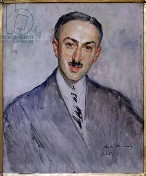 Study for the portrait of Andre Maurois (Emile Salomon Wilhelm Herzog, 1885-1967). Painting by Jacques Emile Blanche (1861-1942), oil on canvas, 1924, 20th century french art. Musee des beaux arts de Rouen.