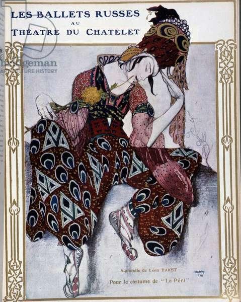 "Les Ballets Russians au theatre du Chatelet: costume for """" La Peri"""" - watercolor by Bakst, cov. in """" Comoedia illustrated"""", 1911."