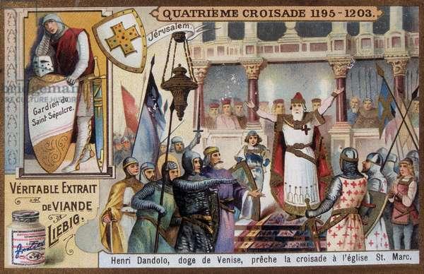 4th Crusade: Henri Dandolo, Doge of Venice, preaches the Crusade at St Mark's Church - chromo., late 19th century