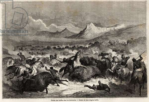 "Buffalo hunting among the Delawares, Amerindians living on the banks of the river of the same name, drawing by Gustave dore (1832-1883), to illustrate the voyage of the Mississippi to the Pacific Ocean in 1853-54 by Baudouin Mollhausen (1825-1905). Engraving in """" Le tour du monde, nouveau journal des voyages"""" Paris, 1860. Selva's collection."