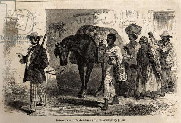 "Back from a sale of slaves in Rio de Janeiro, drawing by Riou, to illustrate Mr.Biard's journey to Brazil in 1858-1859. Engraving in """" Le tour du monde"""" 1861. Selva's collection."