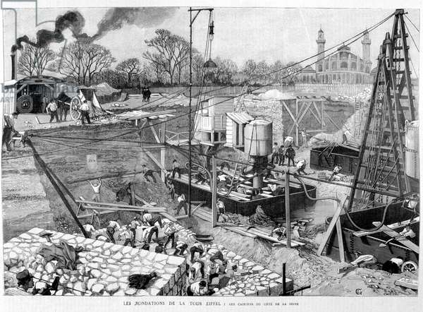 """The foundations of the Eiffel Tower: the caissons on the Seine side - in """""""" Illustration"""""""" 14/05/1887. ¿"""