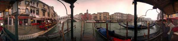 Gondolas and canals of Venice. (Rialto Bridge) Panoramic 360 degrees by Leonard de Selva, Italy, 1999.