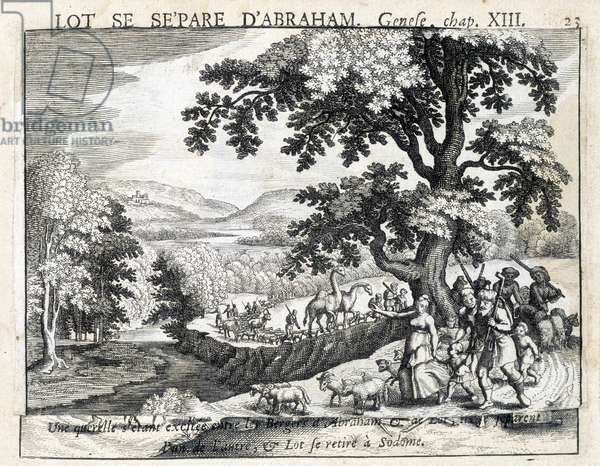 Loth separates from Abraham - Bible, engraving, 17th century