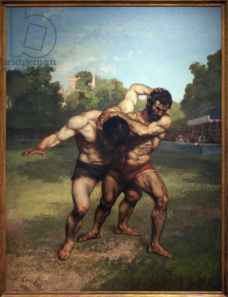 Wrestlers. Painting by Gustave Courbet (1819-1877), Oil On Canvas, 1853. French Art, 19th century. Museum of Fine Arts Budapest (Hungary).
