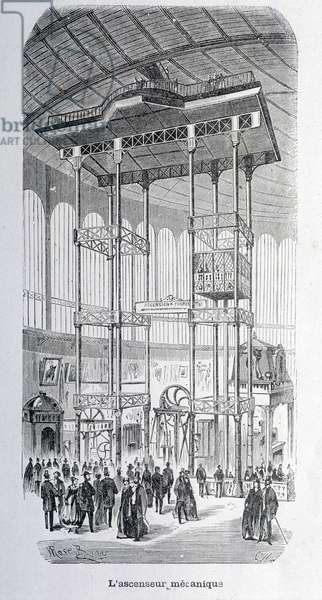 The mechanical lift of the engineer Edoux at the world exhibition of 1867 - grav.