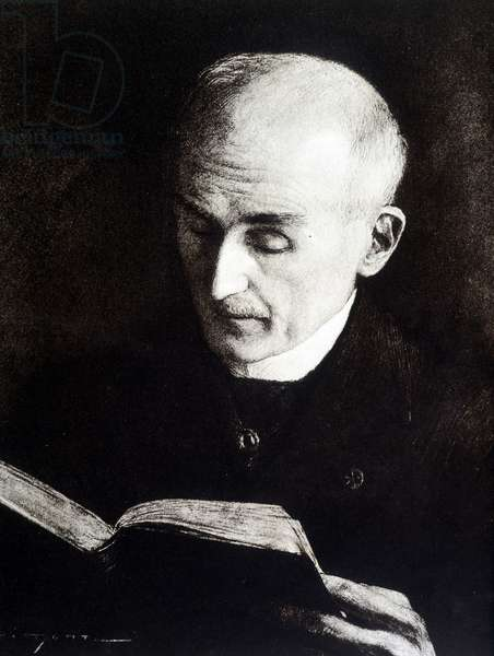 Portrait of Henri Bergson - drawing by J. Simont, 1914
