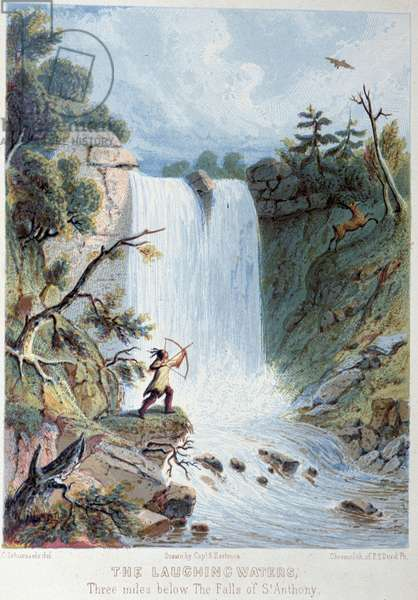 """The laughing waters: Indian hunting near a waterfall - in """"The Iris: an illuminated souvenir for 1802"""""""" designed by Captain Eastman and John S. Hart, 1852."""