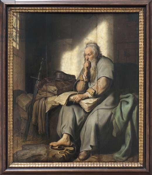 Saint Paul in prison. Painting by Rembrandt Harmensz van Rijn (1606-1669), oil on wood, 1627. Flemish art 17th century, baroque art. Stattsgalerie, Stuttgart (Germany).