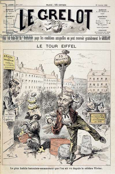 "Cartoon on financial scandals """" The Eiffel Tower: the most skilful batonist - retractor seen since the famous Vivier"""". Cover """" Le Grelot"""" of January 22, 1893"