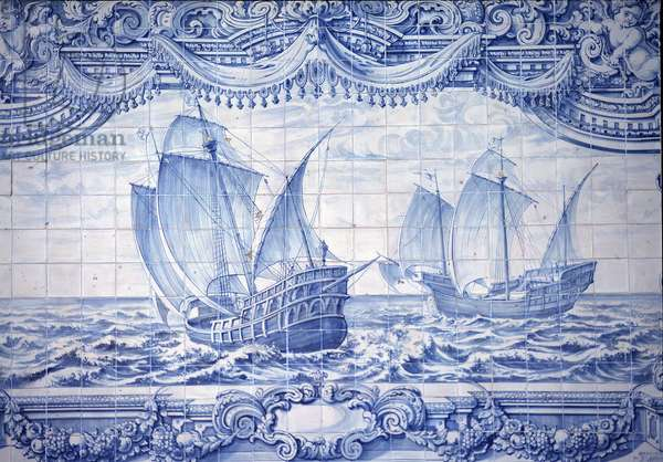Caravels in the 15th-17th century, azulejos, around Lisbon, Portugal.