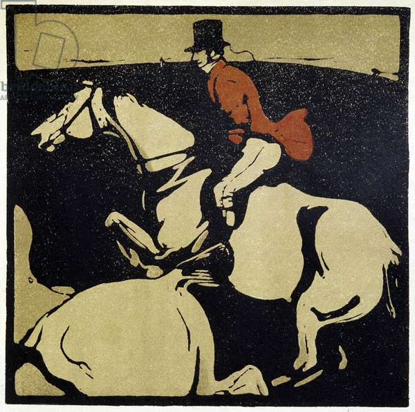 Equitation : homme a cheval - par William Nicholson (1872-1949), 1898